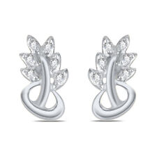 FASHION 14K WHITE GOLD FINISH 925 STERLING SILVER CLUSTER WEDDINGS EARRINGS
