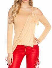 SeXy MiSS Damen Shirt Langarm Asymmetrisch Schulterfrei Top Schärpe  XS/S Neu