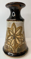 Mid Century Speckled Stoneware Floral Vase Studio Art Pottery Brown