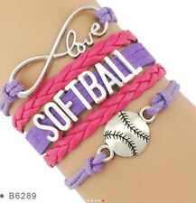 Softball Infinity Bracelet Charm Ball Sport Team Spirit Softball Fan QUALITY USA