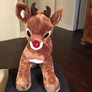 """Build A Bear 15"""" Tall Plush Rudolph The Red Nose Reindeer-Nose Lights Up"""