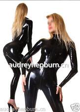 Latex Rubber Black Catsuit Full-body Bodysuit Fashion Cool Suit Size XS- XXL
