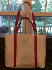 Woman's Large White Quilted Vinyl Tote Handbag Purse with Red Handles