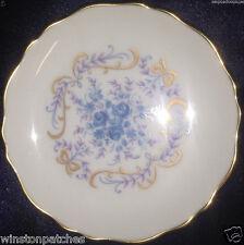"""LIMOGES CASTEL FRANCE COASTER 4 1/4"""" BLUE FLOWERS PINK LEAVES GOLD TRIM"""
