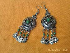 Moroccan Berber Ethnic: Super Pair of circular FIBULA earrings Green NEW