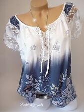 Italy Vintage Blumen Bluse Sommer Shirt Top Tunika Lagenlook*Weiss Blau*38 40 42
