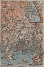 OSLO ENVIRONS. Christiania Bygdo. Norway kart. BAEDEKER 1912 old antique map