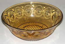 Vintage U.S. Glass Co. Amber Manhattan Round Master Fruit Bowl.
