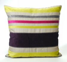 Large Purple and Lime Green Cushion Cover with a Hint of Pink & Grey