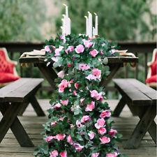 Artificial Rose Garland Fake Silk Flower Table Runner Wedding Party DIY Backdrop