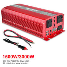 Power Inverter 3000W/6000W 12V-240V Camping Boat Caravan with LED cable 3.1A USB