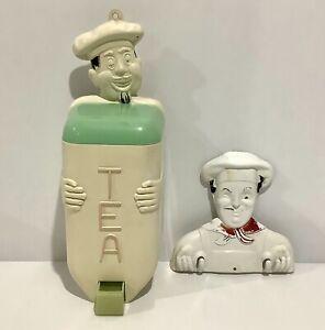 Retro Vintage Jolly Chef Tea Canister Dispenser & Pot Holder Pierwood Fethalite