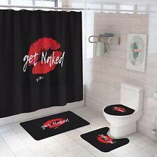 Get Naked Shower Curtain Bathroom Rug Set Bath Mat Non-Slip Toilet Lid Cover