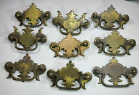 LOT of 9 Vintage Bat Wing Drop Handle Cabinet Drawer Pull Bronze Tone Salvage