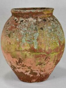 """Antique French clay pot with timeworn patina 17"""""""