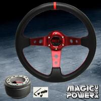 350mm Red Deep Dish Steering Wheel + Hub Adapter Prelude 83-91 Red Stitching