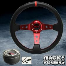 350mm Red Deep Dish Steering Wheel & Hub Adapter Genesis 2009-2014 Red Stitching