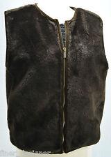 Banana Republic Brown Faux Fur Vest $130 sleeveless zip coat Top Ladies SZ L LRG