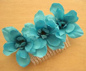 Triple Turquoise Apple Blossom  Silk Flowers  Hair Comb, Wedding,Dance,Prom