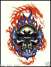 EVIL BLUE SKULL RED DRAGON TEMPORARY TATTOO~ARM BACK NECK LEG BODY~PUNK GOTH EMO