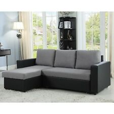 GRAY & BLACK REVERSIBLE STORAGE SOFA SLEEPER SECTIONAL LIVING ROOM FURNITURE