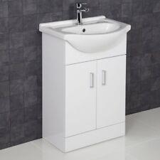 550mm Floorstanding Bathroom Vanity Unit & Basin Sink Gloss White Tap + Waste