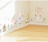 Kids Room Decorating Wall Sticker Forest Flower Elephant Rabbit Giraffe Animal