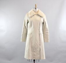 White Leather Long Coat with Faux Fur Collar. Embroidered White Leather Coat.