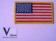US USA American Flag patch GOLD BORDER ***BUY 2 GET 1 FREE***