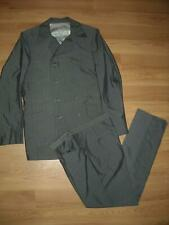 VTG 50S MENS SMALL PIN STRIPE 8 BUTTON DOUBLE BREASTED SUIT JACKET PANTS