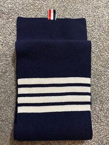 THOM BROWNE 4 bar stripe Merino wool Scarf, Navy Blue