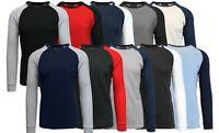 Mens Long Sleeve Thermal Shirt Raglan Tee Crew Neck S M L XL 2XL 3XL 4XL 5XL NEW