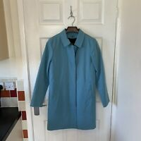 Women's BURBERRY Trench Coat Jacket Size UK 4 Blue Nova Check Wool Lining