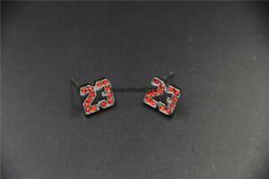 Michael Jordan 23 Logo Red CZ Stud Earrings In Gift Box