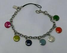 COACH Lanyard Chain Bracelet bag charm multi color medallion snapheads RARE