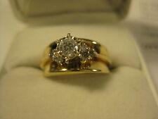 Vintage Solid 14K Yellow Gold & Diamond Ladies Ring [B36]