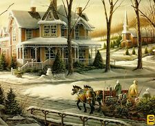 "Terry Redlin ""Homeward Bound"" Boxless Puzzle Winter Victorian Sleigh Horse *NEW*"