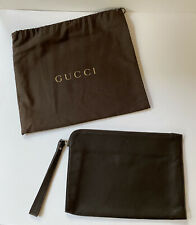 Authentic Gucci Leather Zip Pouch With Wrist Strap