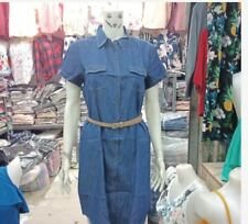 DENIM SHORTSLEEVE DRESS WITH BELT EO - LIGHT  BLUE (LARGE)