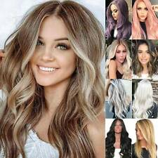 Women Fashion Ombre Blonde Long Curly Hair Wig Ladies Natural Wavy Cosplay Wigs