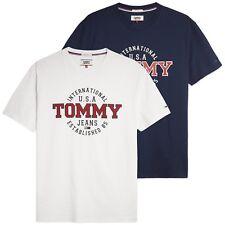 Tommy Hilfiger T-SHIRT-CAMISETA IMPRESA circular Tommy Jeans-Azul Marino, Blanco-Bnwt