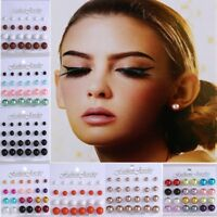 Wholesale 12 Pairs Colorful Pearl Ear Stud Earrings Set Piercing Women Jewelry