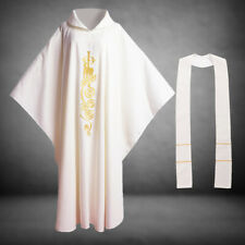 Catholic Vestment Church Chasuble Robe Priest Collar Embroidered With Stole