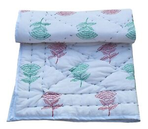 Floral Printed Indian Cotton Toddler Baby Kantha Quilt Bedspread Throw Coverlet
