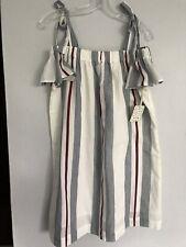 Girl Krazy Striped, Off Shoulder Dress, Peasant Boho, Shoulder Ties, Size L, NWT