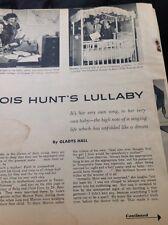 N1-6 Ephemera 1956 Article Folded Lois Hunt Singer 3 Pages Family Life