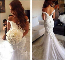 Backless Tulle Cap Sleeve Mermaid White/ivory Wedding dress Bridal Gown custom