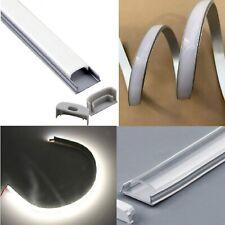 Profilo alluminio FLESSIBILE curvabile 18x6mm per STRISCIA LED + accessori