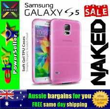 Samsung Galaxy S 5 S5 Pink Soft Gel TPU flexible clear fitted case cover skin