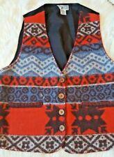 Cheyenne Autumn Lined Medium Vest wool blend Southwestern red Blanket Stitch